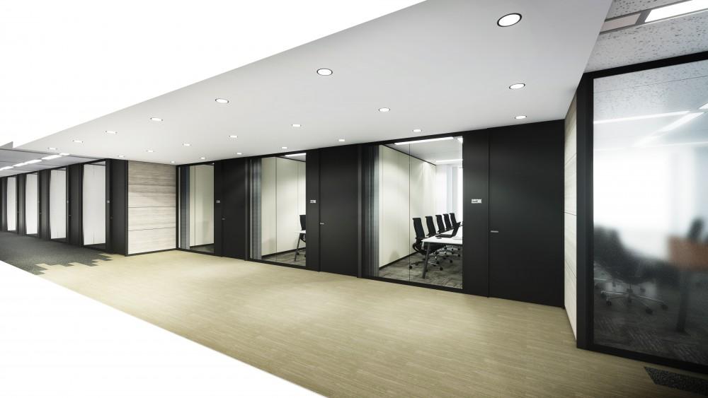 高層ビルオフィス廊下(会議室前)
